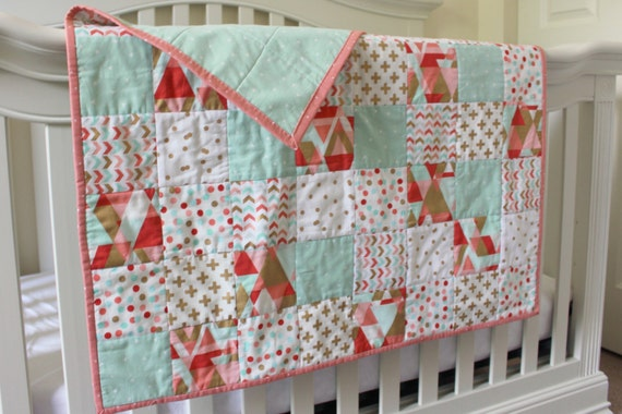 Marion S Coral And Gold Polka Dot Nursery: The Zoe Quilt Baby Girl Quilt Modern Coral By BirchTreeBundles