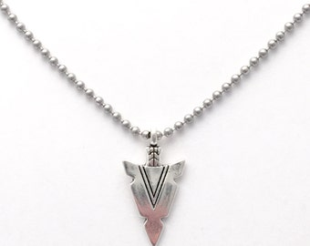 "Arrowhead Pendant With 24"" Ball Chain Necklace"