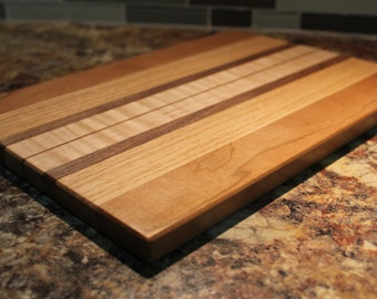 Large Handmade Cutting Board - Curly Maple, East Indian Rosewood, Oak & Cherry