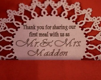 Personalized Wedding Meal Cards (50 pieces)