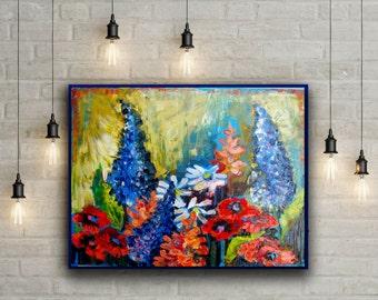 Oil painting wildflowers. Oil paintings on canvas flowers. Realistic painting on canvas. Artwork on canvas  Palette knife painting flowers.