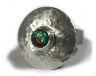 Opal ring / silver ring with opal - Statement 925 sterling silver ring - handmade hammered forged - absolutely unique