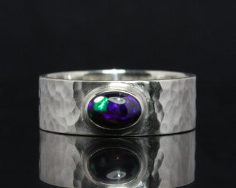 Black opal ring -- hammered / forged design ring out of Sterling Silver