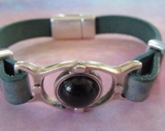 Distressed Denim Leather Bracelet