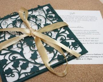 Vine Square Lasercut Wedding or Engagement Invitation Sleeves