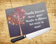 Family forever Tempered Glass Cheese board  -  Watercolour tree