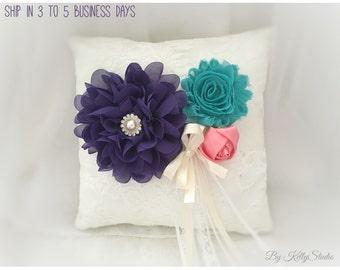 Ring Bearer Pillow, Ring bearer  Pillow  Purple, teal, Flower girl basket purple and tea Vintage Wedding, Purple,teal