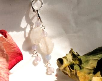Rose Quartz and Purple Glass Bead Handmade Earrings