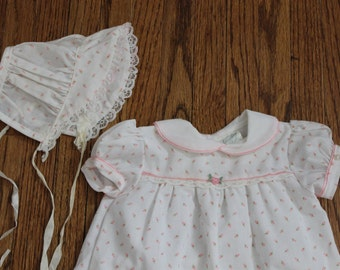 Vintage Pink Rosebud Newborn Dress with Matching Hat by Cradle Club Fremont Ohio Made in the USA