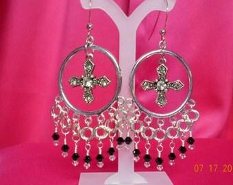 Handmade long dangly cross earrings