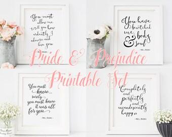 Pride and Prejudice Quotes | Jane Austen | Printable Quote Set | Romantic Literature Quote | INSTANT DOWNLOAD 8x10 Printable Digital Art