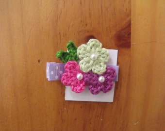 Handmade Boutique Double Prong Lined Alligator Hair Clip - Crochet Flowers - Green, Purple, Hot Pink w/polka dot ribbon