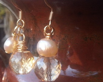 Crystal & Freshwater Pearl Earrings