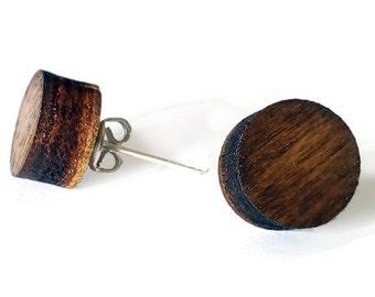 Laser cut wood stud earrings,round stud earrings,wood post earrings,wooden stud earrings,wood ear studs,wood earrings,walnut stud earrings
