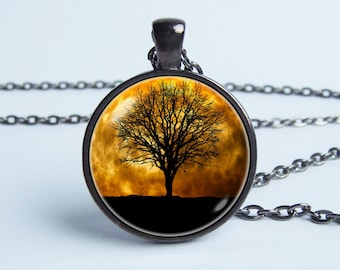 Moon and tree necklace Moon necklace Moon pendant Moon jewelry Tree pendant Tree necklace Space jewelry Moon gift Girlfriend gift Gift idea
