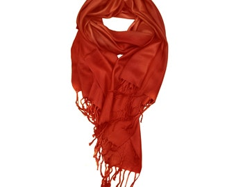 Rust Color Supersoft plain Pashmina Shawl - the perfect bridesmaid gift or wedding favor