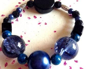 Blue glass beaded bracelet.