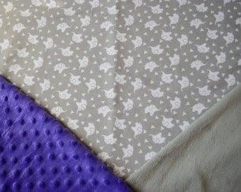Elephant Baby Blanket, Elephant Baby Girl Blanket, Minky Baby Blanket, Gender Neutral Baby Blanket, Flannel Baby Blanket, Stroller Blanket