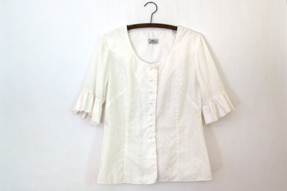 Umbel Blouse — 1950s vintage white eyelet top with circular flounce sleeves // cotton Alice of California button, darted shirt // medium