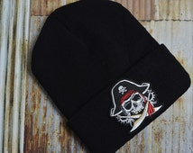 Pirate Skull Sword Carribean Treasure Logo Retro Street Skate Knit Ski Unisex Beanie Hat Embroidered Patch Patches