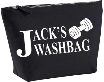Personalised gym travel/toiletry/accessory wash bag ~ black or natural