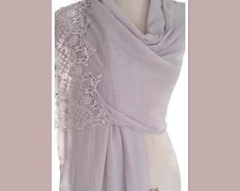 Grey Cotton Lace PanelPashmina Wrap Shawl Scarf Gift Idea