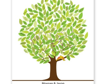 spring leaf tree guest book with birds, signature mat, wedding tree guest book, wedding guest book alternative