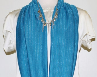 Gleaming Silver Blue Scarf