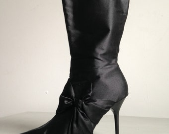 Black satin elegant stilleto boots