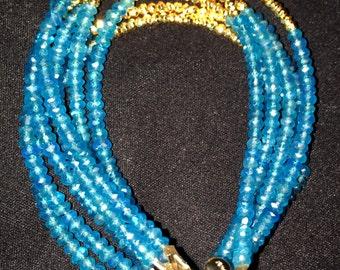 Apatite and Gold Pyrite Bracelet
