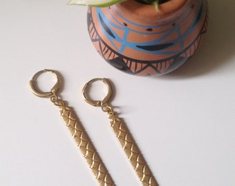 Golden Tribal Etched Earrings
