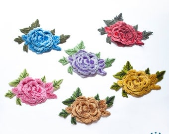 Floral embroidered applique - Roses