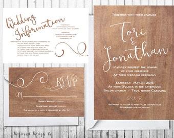 Woodgrain Wedding Invitation Suite - Custom Wedding Invitation - Printable Wedding Invitation
