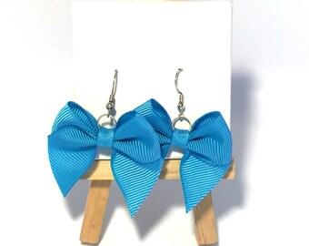 Blue Bow Earrings, blue bows, Bow Earrings, Bows. Gifts for Girls