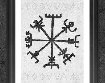Viking Compass Print - DIGITAL - Viking Print - Vegvisir art - viking compass art print  - viking art print - viking decor - Amon Amarth