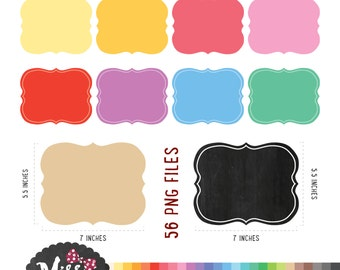 28 Colors Frame Clipart. Borders (56 PNG Files) - Instant Download