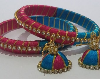 Handcrafted silk thread bangles with ring type earrings - SWS007