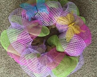 Spring Wreath, Deco Mesh Wreath, Burlap Wreath, Summer Wreath, Butterfly Wreath, Door Wreath, Door Hanger
