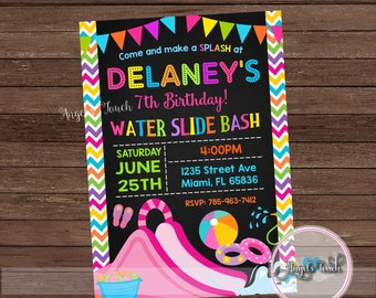 Water Slide Party Invitation, Waterslide Birthday Invitation, Waterslide Party Invitation, Girl Water Slide Invitation, Digital File
