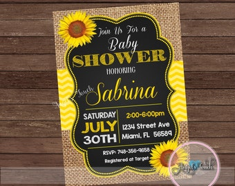 Sunflower Baby Shower Invitation, Picnic Baby Shower, Picnic Sunflower Baby  Shower Invitation, Baby