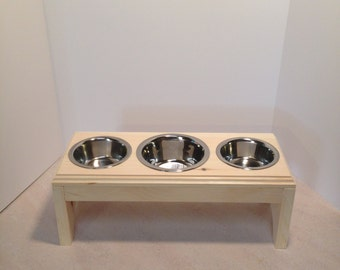 Raised 3 Bowls Pet Feeder,1 (2cup)and 2(1/2pt) Handmade Wooden For Dogs and Cat