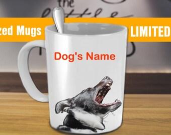 Customizable Coffee Mug - Dog/Man Barking - Put Your Name On - Black / White 11 oz