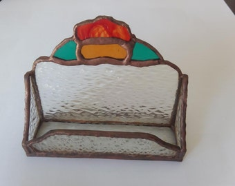 Handmade stained glass business card holder