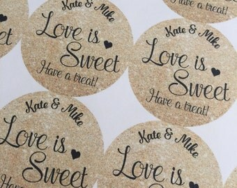 Wedding Favors, love is sweet, Wedding Favor Stickers, Custom Stickers, Love is Sweet Stickers, Wedding Stickers, Wedding Stickers for Favor