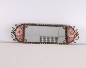 Vintage, Old, German Made Decorated Mirror Serving Tray.