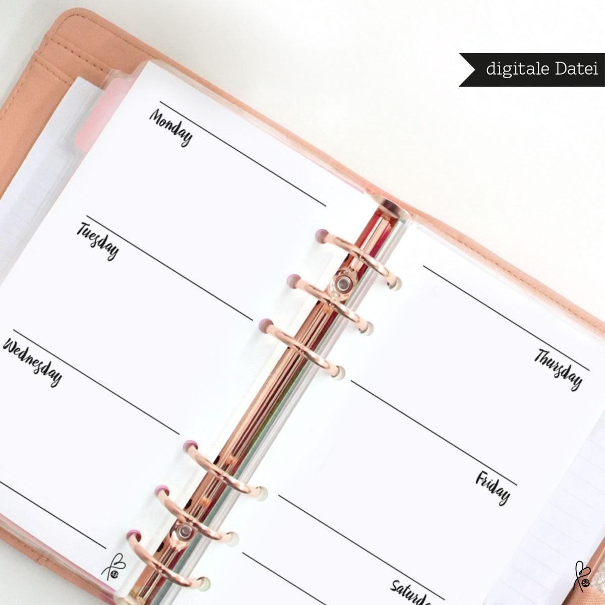 filofax einlagen wochenkalender blanko filofax kalender. Black Bedroom Furniture Sets. Home Design Ideas