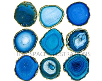 Gold Rimmed Blue Agate Slice Geode Art Print by Headspace Illustrations