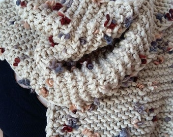 knitted winter scarf, handmade