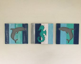 Special Pricing for two Dolphin Beach Signs, Dolphin Beach Wood Wall Art, Beach Art, Beach House Decor, Wooden beach sign