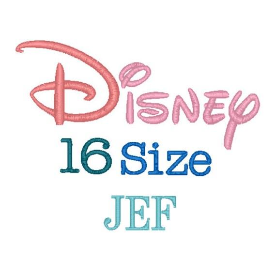 Disney sizes embroidery font jef format